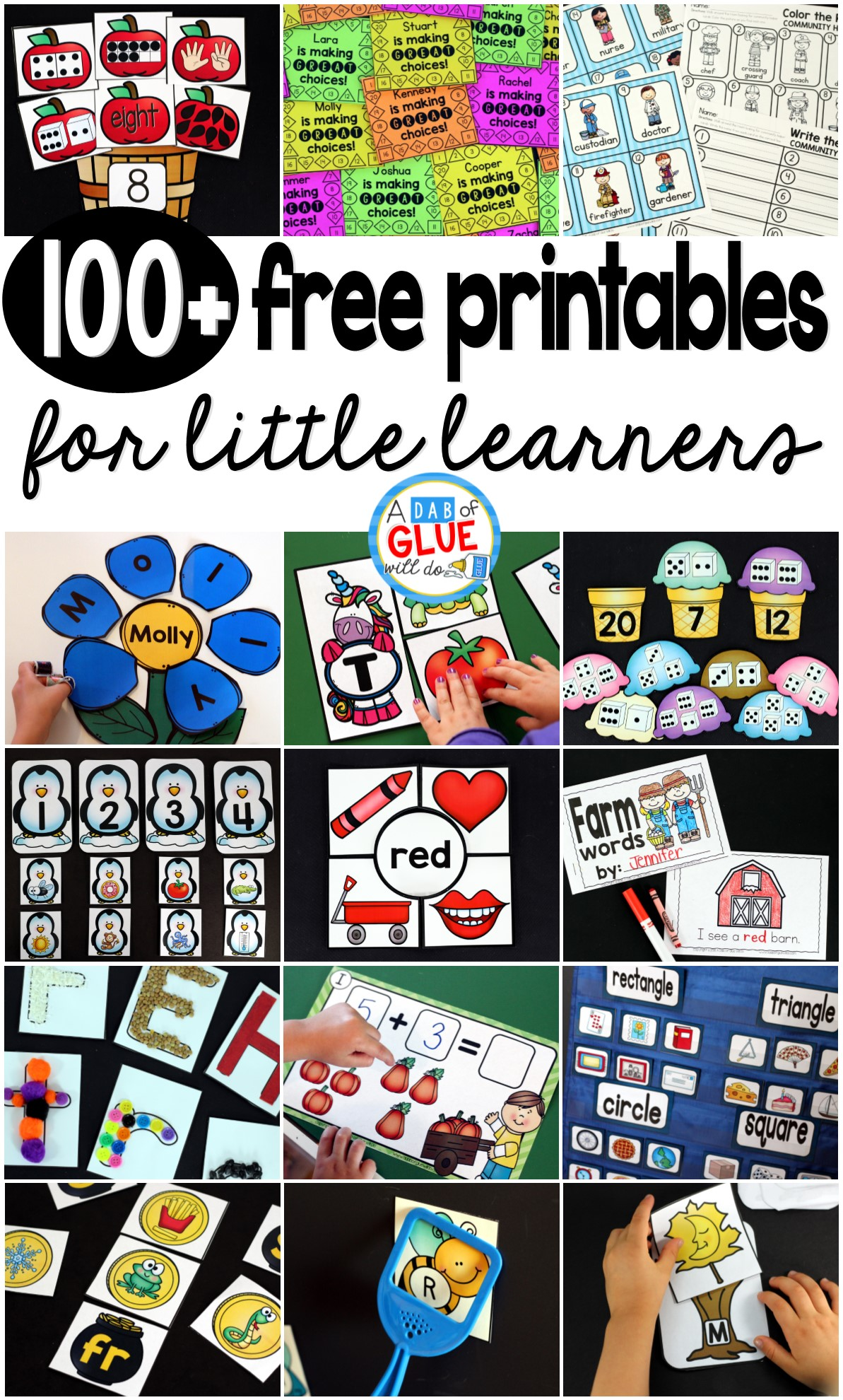 At A Dab of Glue Will Do, we strive to provide you with quality resources, both paid and free. Teaching is hard and finding a balance between planning for your little learners and your life outside the classroom can be difficult. Hopefully this extensive list of free teacher resources will help you find engaging materials for your classroom.