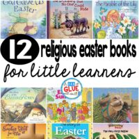 Our 12 favorite religious Easter books are perfect for your Easter or spring lesson plans. These are great for preschool, kindergarten, or first grade students.