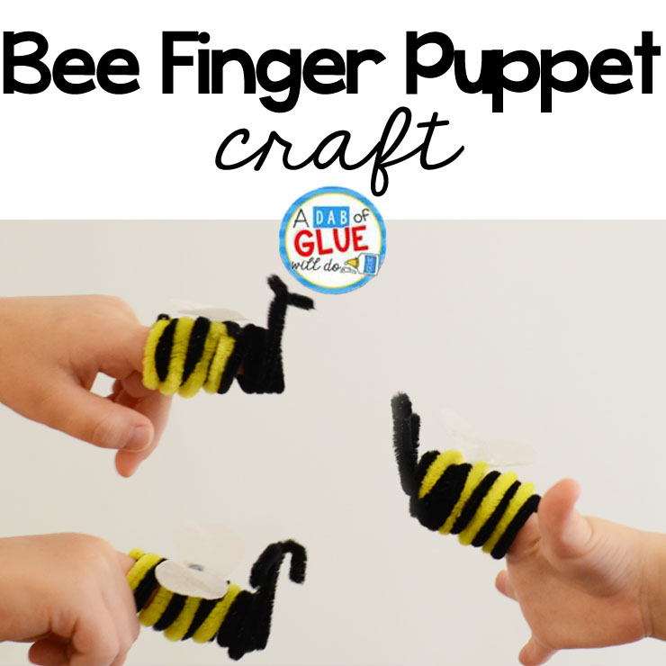 Spring time bee finger puppet craft. Use those fine motor skills and have fun making this super cute bee finger puppet craft!