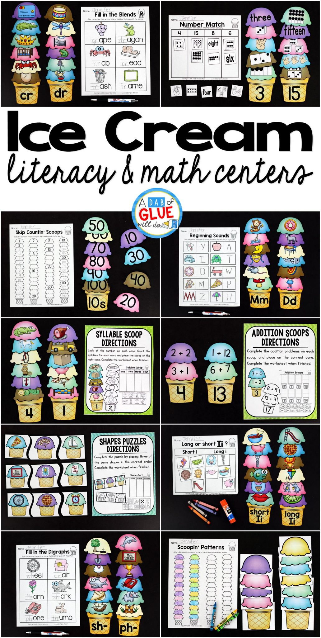 Make language arts and math fun with this themed Ice Cream Literacy and Math Centers bundle that is perfect for your lower elementary aged children. Use these fun language arts summer themed worksheets to review with your Preschool, Kindergarten, and First Grade students important language arts and math concepts in a fun and interactive way. All centers come in colors AND black and white.
