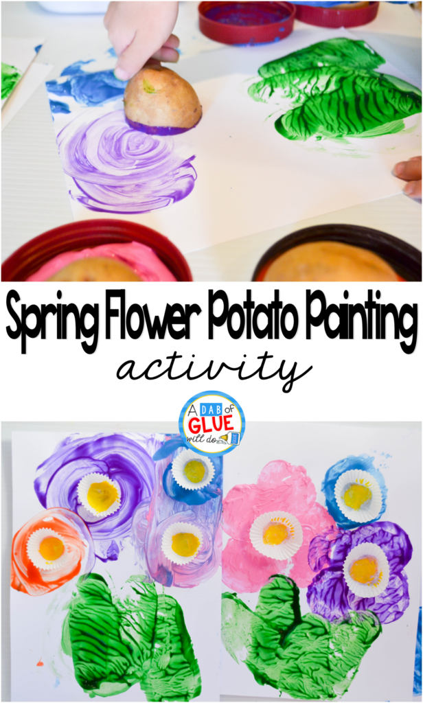 It's time for flowers so get ready to celebrate spring with this spring flower potato painting idea! This activity is all about potatoes, paint, and a cute way to make the center of each flower really pop!