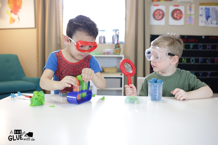Play Dough Science Activity on A Dab of Glue Will Do