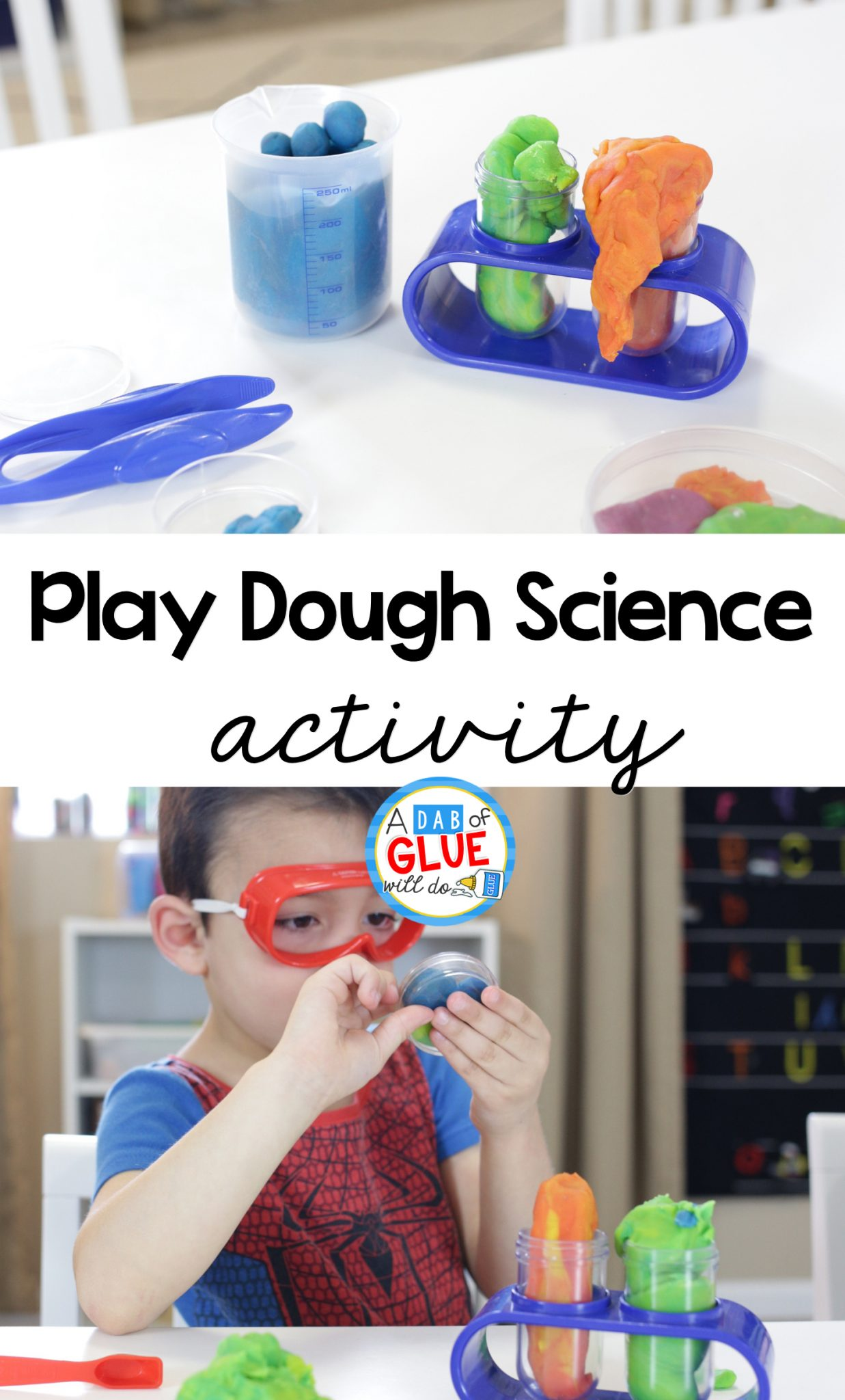 Play dough activities are practically written into our preschool curriculum. We love to stamp letters into play dough, create interesting new animals, squeeze it through play dough extruders, and even give it as gifts! This play dough science activity is one part dramatic play, one part science, and a whole lot of fun!