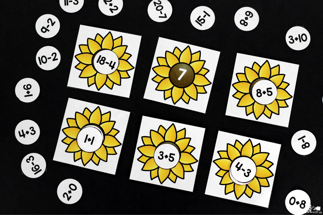Sunflower Addition and Subtraction Printable will make reviewing addition and subtraction fun! This free math printable is perfect for kindergarten and first grade students.