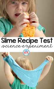 In this simple science experiment, kids will find out which slime recipe is the best way to make slime in the slime recipe test experiment.
