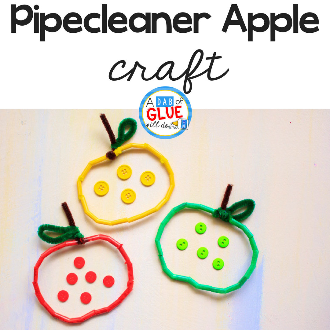 The Pipe Cleaner and Straw Apple craft is simple to make and great for practicing fine motor skills like cutting and lacing, early math & color recognition