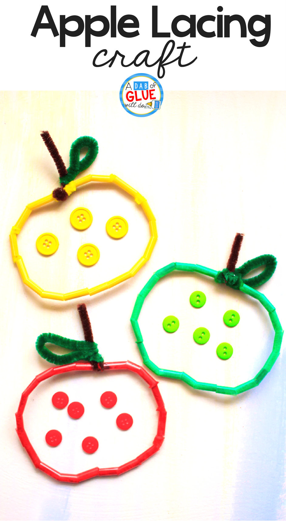 Easy Pipe Cleaner and Straw Apple Craft