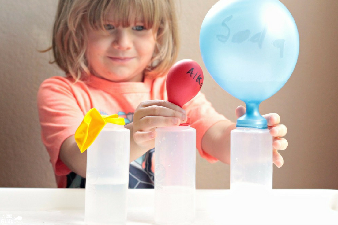 In the self-inflating balloon science experiment, kids will learn which chemical reaction is the best at inflating balloons. Classroom-friendly!