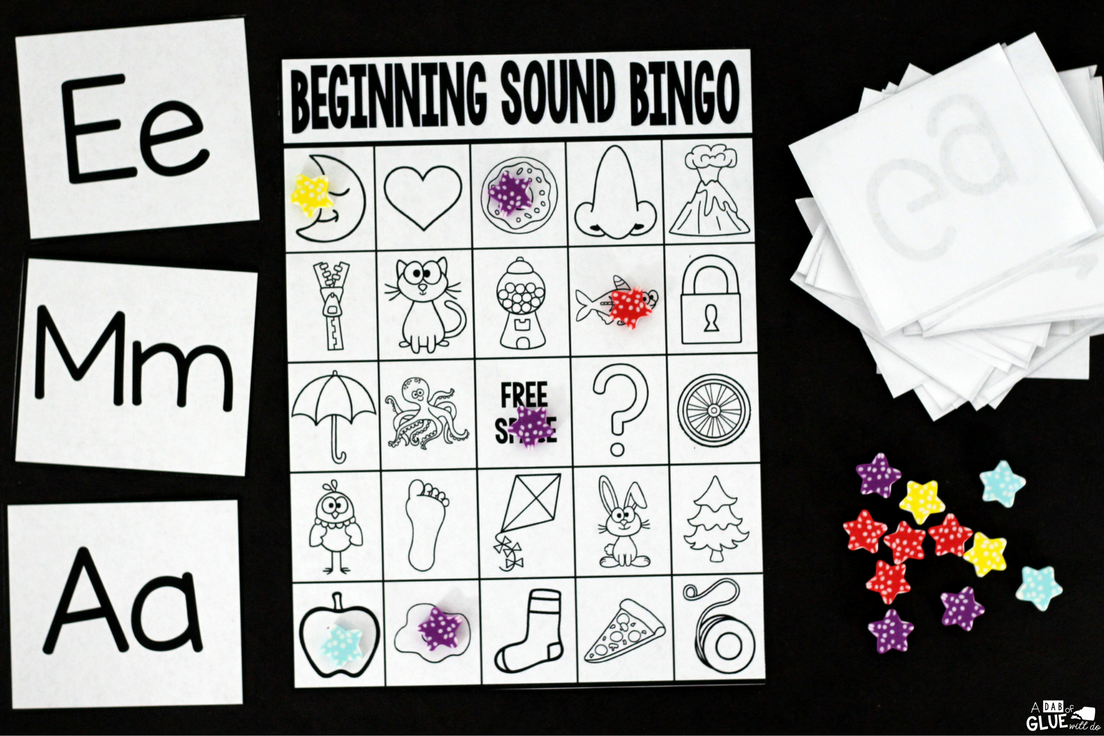 lay Bingo with your elementary age students for a fun alphabet themed game! Perfect for large groups in your classroom or small review groups. Teaching cards are also included in this fun game for young children! Black and white options available to save your color ink.