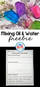 Mixing Oil and Water Experiment + Freebie Printable Recording Science Sheet