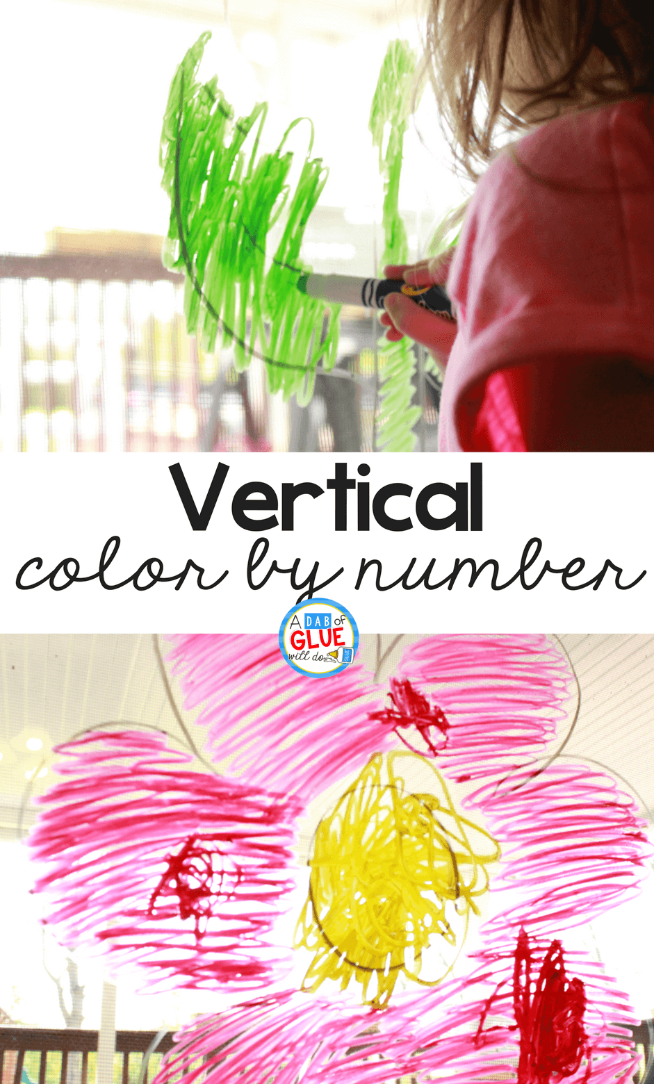 This vertical color by number activity is not only a fun way to get your preschoolers or kindergartners practicing their numbers, but working on a vertical surface is also a fantastic way to help them strengthen the muscles that they'll use for writing later on.