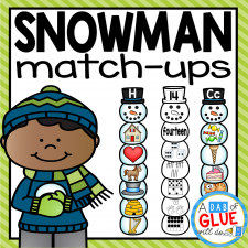 Make learning fun with these themed Initial Sound and Number Match-Ups. Your elementary age students will love this fun winter, snowman themed literacy center and math center! Perfect for literacy stations, math stations, or small review groups all year long. Use in your Preschool, Kindergarten, and First Grade classrooms. Black and white options available to save your color ink.
