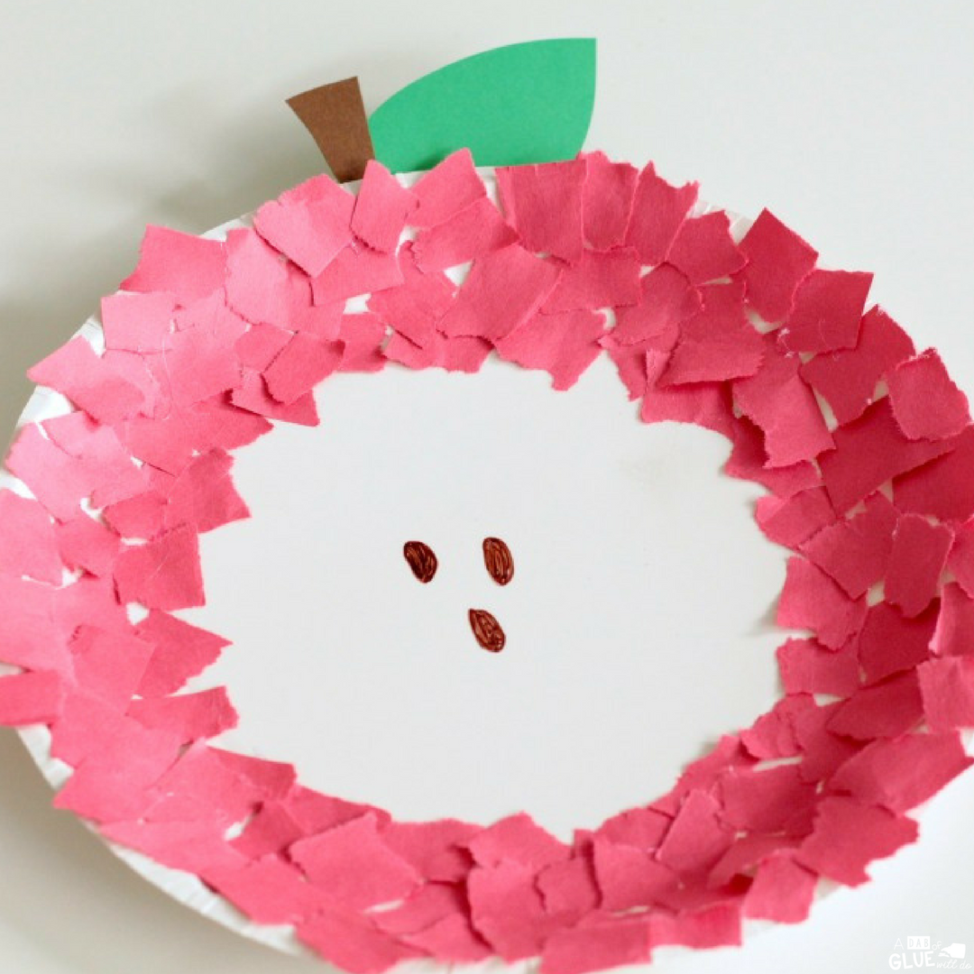 Fine Motor Paper Plate Apple Craft - A Dab of Glue Will Do