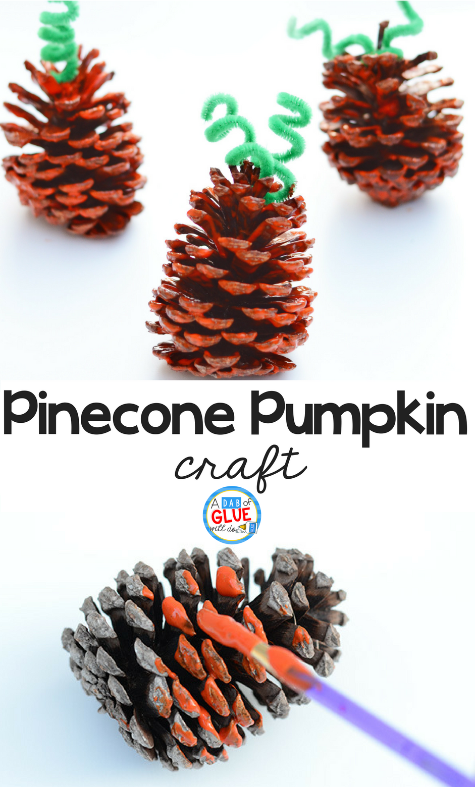 Pumpkins are one of my favorite things about fall and this cute and simple pinecone pumpkin craft is perfect for your students. Use pinecones from your nature walk collection or use smaller store-bought round pinecones along with just a few supplies to make this quick craft with preschool or kindergarten students to get festive for Autumn!