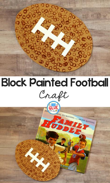 block painted football craft, painted football craft, football craft