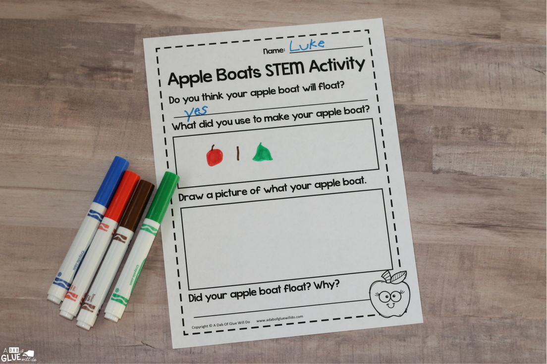 Are you looking for a simple, Fall-themed STEM activity to do with your class? This Apple Boats STEM Activity is an easy and fun way for children to test different sizes of apples and materials to see if apples float in water.
