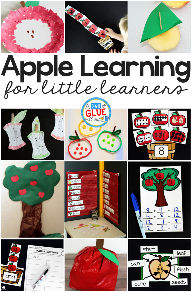 Apples are one of my favorite themes for fall! Your class will love exploring apples in their art time, science lessons, while they practice math facts, and so much more. Use these apple learning activities for little learners in your classroom this fall!