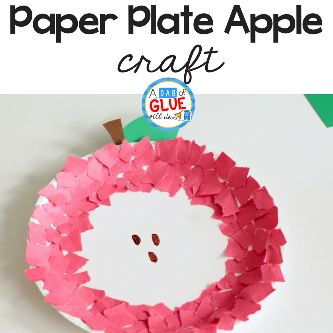 Fine Motor Paper Plate Apple Craft