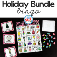 Play Bingo with your elementary age students through the holidays with these fun holiday themed games! Perfect for large groups in your classroom or small review groups. Add these to your lesson plans or class party with 30 unique Halloween, Thanksgiving, Christmas, Valentine's Day, St. Patrick's Day, Easter, and Earth Day boards! Teaching cards are also included in this fun game for young children! Color and black and white options available to save your color ink.