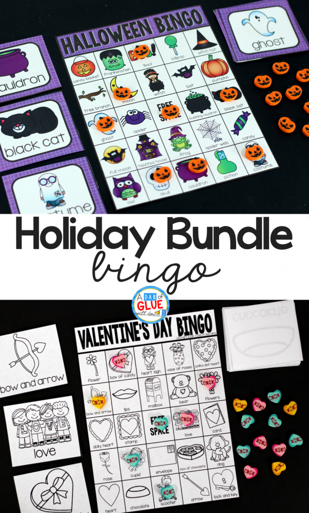 Play Bingowith your elementary age students through the holidays with these fun holiday themed games! Perfect for large groups in your classroom or small review groups. Add these to your lesson plans or class party with 30 unique Halloween, Thanksgiving, Christmas, Valentine's Day, St. Patrick's Day, Easter, and Earth Day boards! Teaching cards are also included in this fun game for young children!Color and black and white options availableto save your color ink.