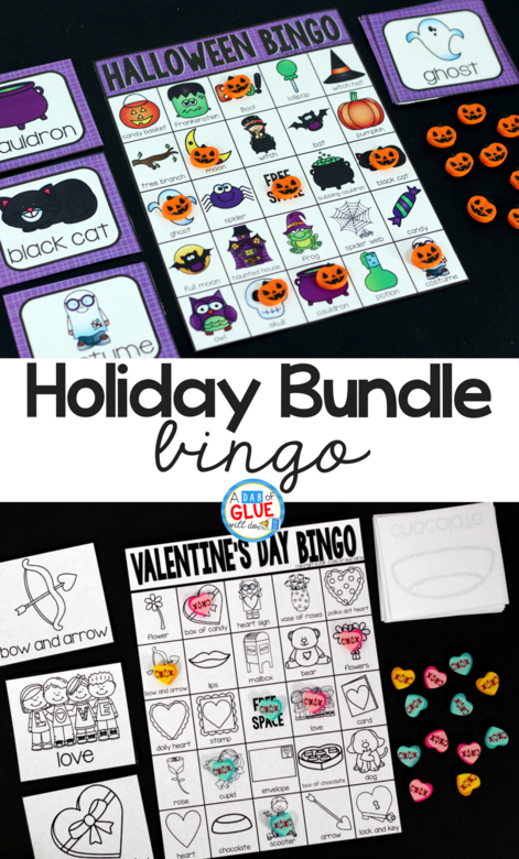 Play Bingo with your elementary age students through the holidays with these fun holiday bingo bundle games! Perfect for large groups in your classroom or small review groups. Add these to your lesson plans or class party with 30 unique Halloween, Thanksgiving, Christmas, Valentine's Day, St. Patrick's Day, Easter, and Earth Day boards! Teaching cards are also included in this fun game for young children! Color and black and white options available to save your color ink.