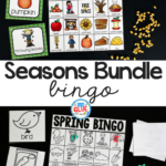 Play Bingowith your elementary age students through the seasons with these a fun season themed game! Seasons Bingo Bundle is perfect for large groups in your classroom or small review groups. Add this to your lesson plans or class party with 30 unique fall, winter, spring, and summer boards! Teaching cards are also included in this fun game for young children!Black and white options availableto save your color ink.