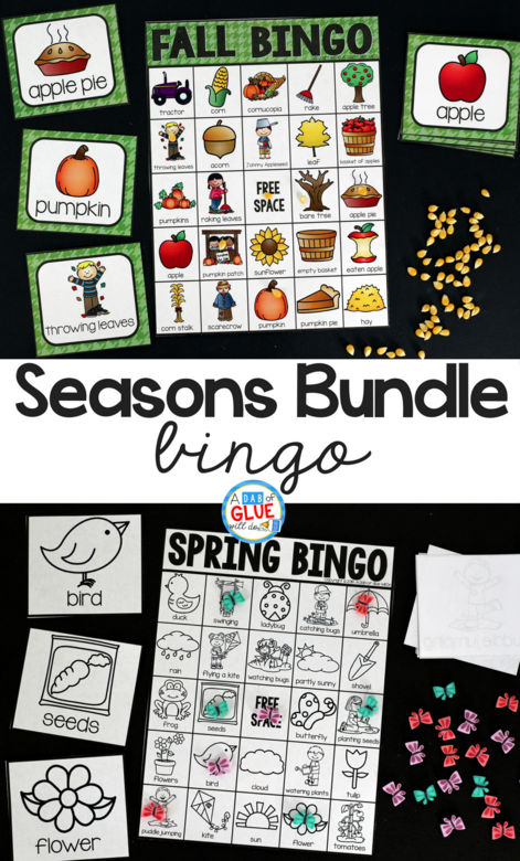 Play Bingo with your elementary age students through the seasons with these a fun season themed game! Seasons Bingo Bundle is perfect for large groups in your classroom or small review groups. Add this to your lesson plans or class party with 30 unique fall, winter, spring, and summer boards! Teaching cards are also included in this fun game for young children! Black and white options available to save your color ink.
