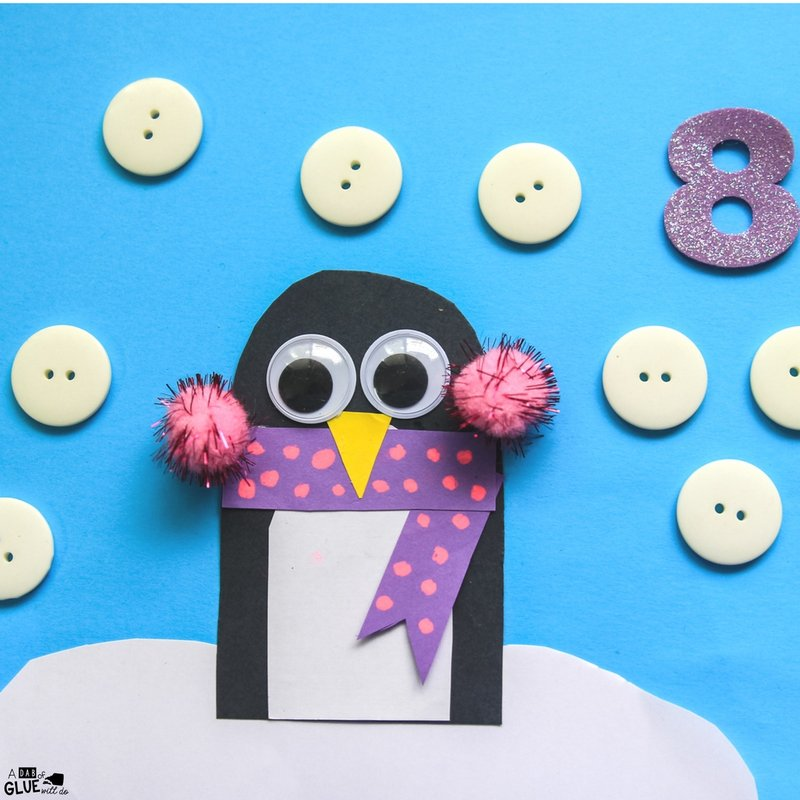 Practicing number recognition and counting skills with preschoolers are fun with penguin number counting craft and activity!