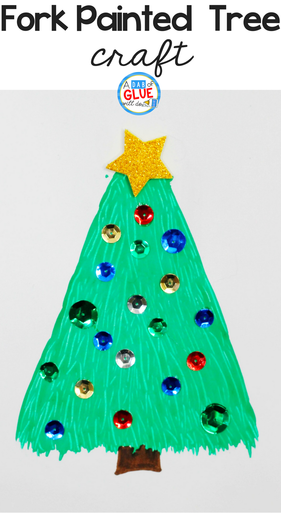This Fork Painted Christmas Tree is a fun and easy craft for young children to make. You can hang these holiday crafts on a bulletin board for a cheerful and festive decoration that will brighten up your classroom.