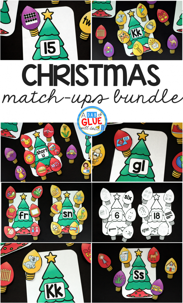 Make learning fun with these Christmas Match-Ups Bundle. This includes themed centers for Initial Sounds, Middle Sounds, Ending Sounds, Blends, Digraphs, and Number Match-Ups. Your elementary age students will love this fun Christmas themed literacy center and math center! Perfect for literacy stations, math stations, or small review groups this Christmas. Use in your Preschool, Kindergarten, and First Grade classrooms. Black and white options available to save your color ink.