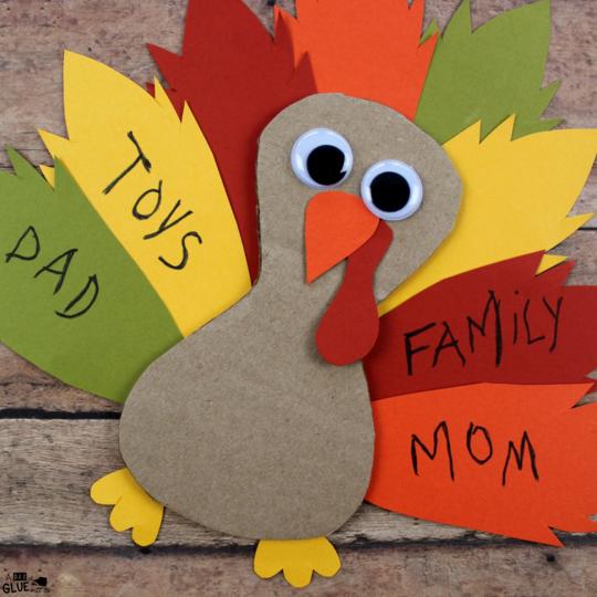 Cardboard Thankful Turkey Craft -