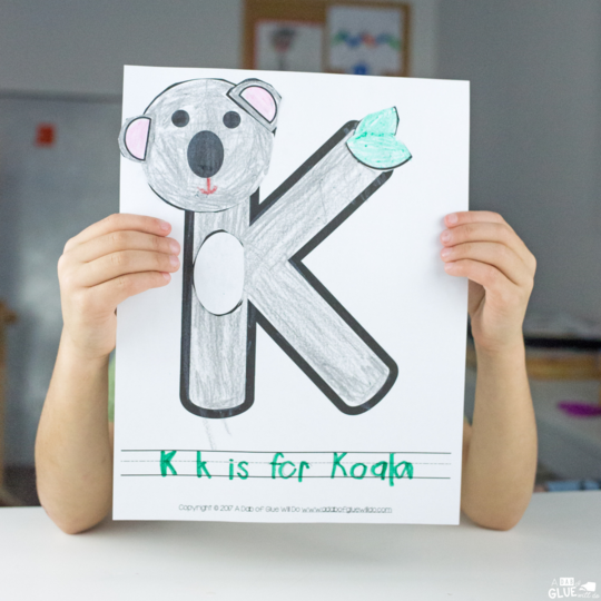 We're back for another Animal Alphabet Letter of the Week Activity! Last week we completed J is for Jellyfish and we are moving on this week to another fun animal- K is for Koala!