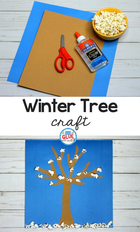 Need a simple craft for kids this winter? Have fun with this Winter Craft and Snack For Kids! It's a simple art activity for kids with fine motor too!