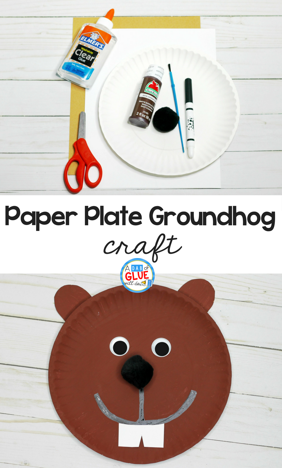 Paper Plate Groundhog Craft