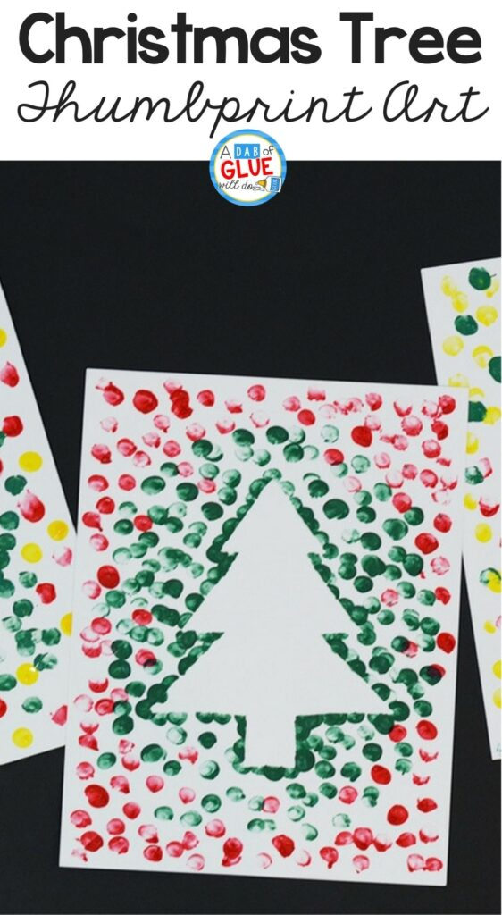 Fun find motor skill activity using thumbprints to make Christmas trees