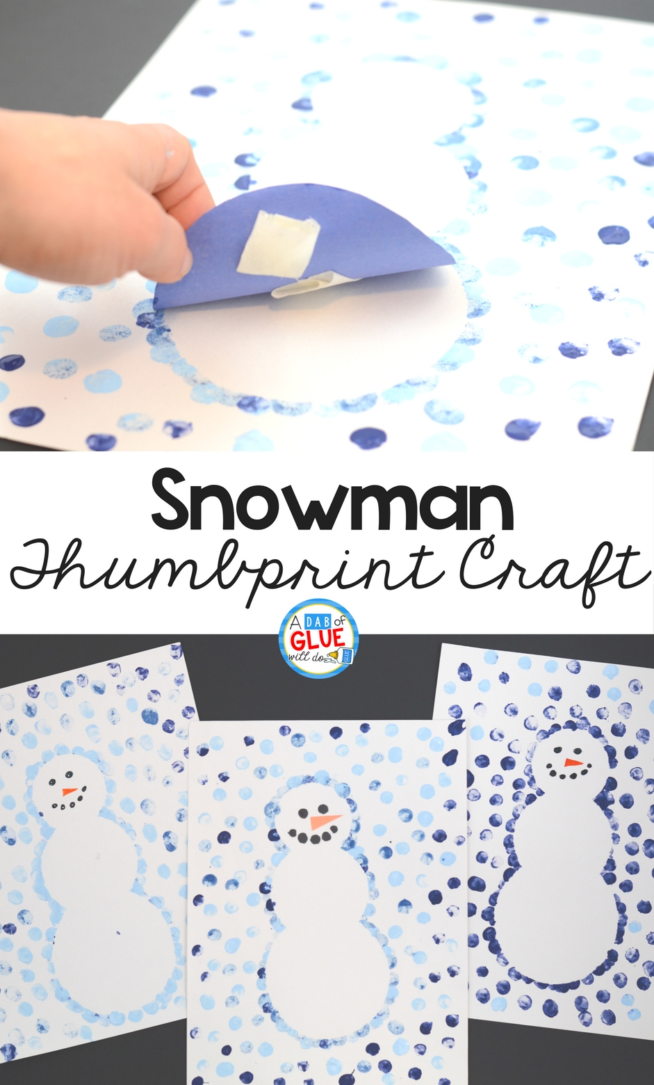 Create this Snowman Thumbprint Art in your kindergarten classroom as your next winter craft! It's a great fine motor snowman craft idea for kids.