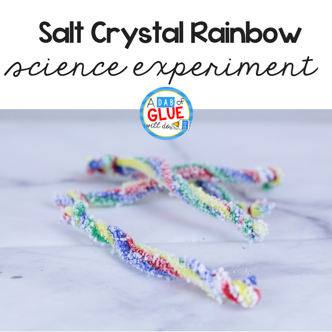 This Salt Crystal Rainbow Science for Kids is perfect for your spring STEM lesson or your color science lesson for kids. It's a simple science idea too! #STEM #science #rainbow