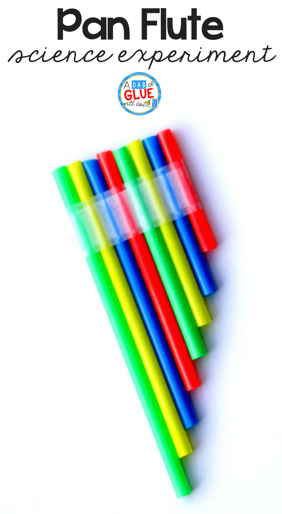 Make a straw pan flute using a few drinking straws and tape. This is the perfect activity to accompany a lesson on sound, five senses, or music.