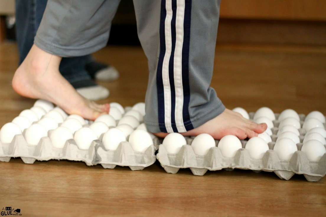 If you are looking for a simple science experiment for kids, try walking on eggs! This is a great STEM activity for your kindergarten science unit.