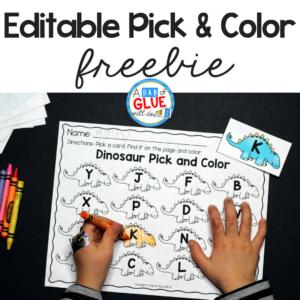 Editable Dinosaur Pick and Color Printable