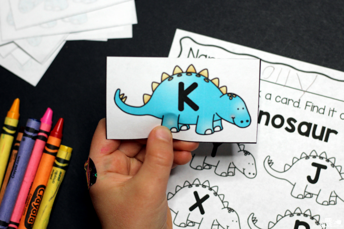 Editable Dinosaur Pick and Color Printable - A Dab of Glue Will Do