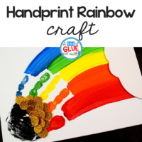 We have had a lot of fun with our thumbprint art, but thought we should try this St. Patrick's Day Handprint Rainbow to add to our rainbow crafts. #stpatricksday #spring