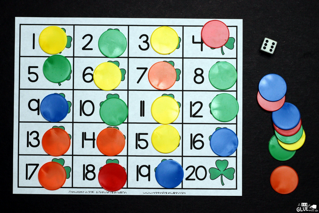 St. Patrick's Day First to 20 Game is the perfect addition to your math centers. This free printable is perfect for preschool and kindergarten students.