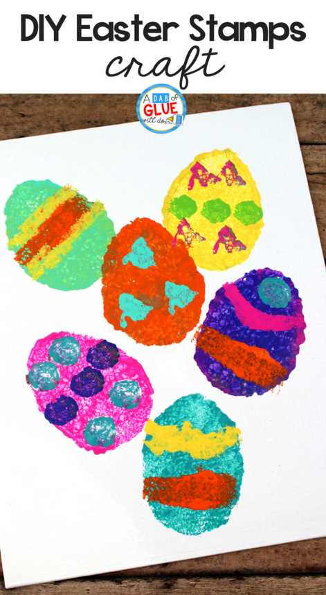 These DIY Easter Stamps for Kids use materials that you probably already have on hand. Unleash their creativity with this fun activity.