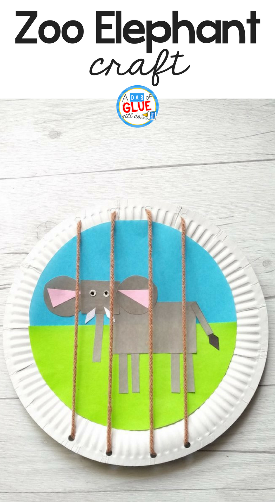 Zoo Themed Shape Elephant Craft for Kids