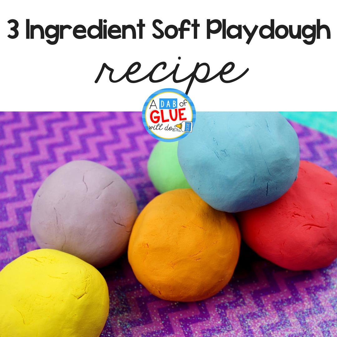 3 Ingredient Soft Playdough Recipe for Kids