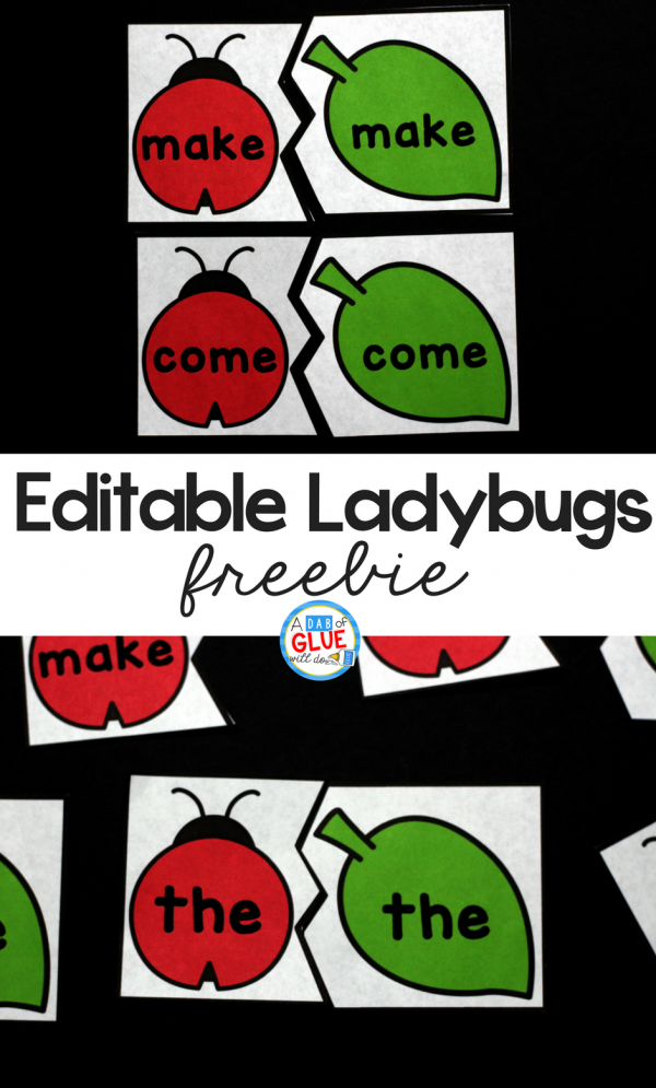 Ladybug Editable Sight Word Puzzles is the perfect addition to your literacy centers this spring. This free printable can easily be differentiated to fit the needs of all of your students. It is perfect for preschool, pre-k, kindergarten, and first grade students.