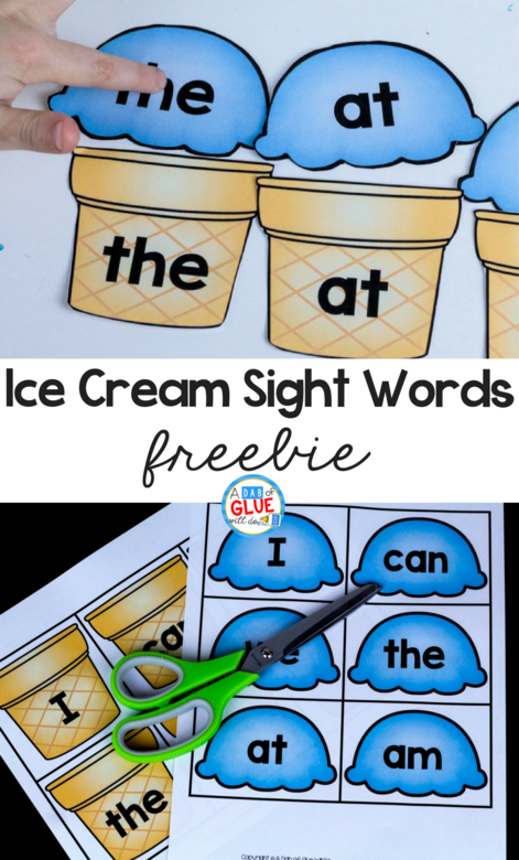 Students will love this Ice Cream Sight Word match up freebie that makes early literacy hands-on fun.