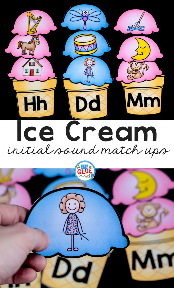 Make learning fun with this themed Ice Cream Initial Sound Match-Up. Your elementary age students will love this fun ice cream themed literacy center! Perfect for literacy stations or small review groups. Use in your Preschool, Kindergarten, and First Grade classrooms. Black and white options available to save your color ink.
