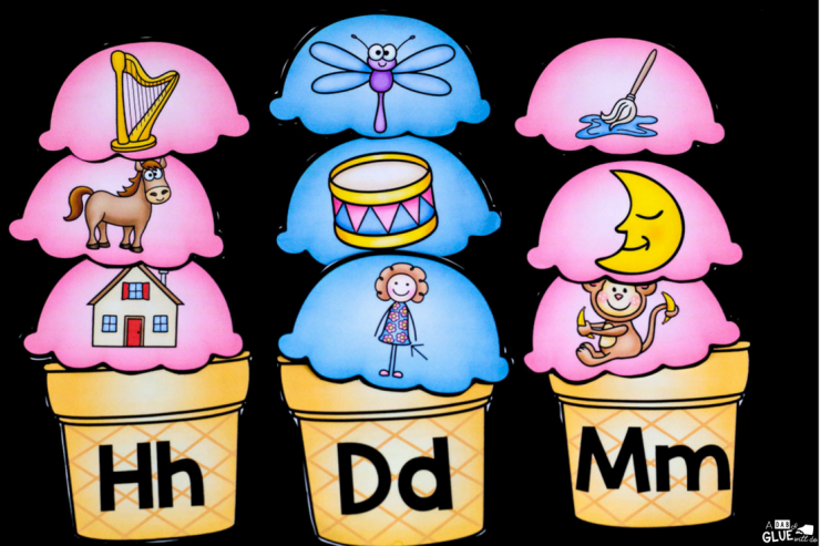 Students will have so much fun with this hands-on ice cream initial sounds match up!